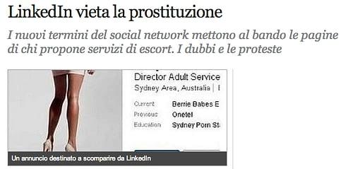 Linkedin e Prostituzione